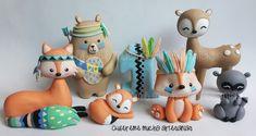 Ideas Decoracion Cumpleaños, Tribal Fox, Cake Craft, Polymer Clay Animals, Clay Figures, Sculpture Clay, Animal Party, Woodland Animals, Clay Crafts