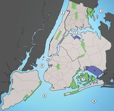 NYC Waterways: map link here. Did you know the city is bordered by rivers and the Atlantic Ocean, plus more water? Only the Bronx is connected to the mainland.