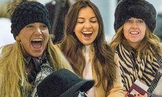 Sarah Harding, Gemma Merna and Louisa Lytton at Gatwick Airport