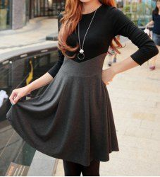 Ladylikle Round Collar Color Matching High Waist Long Sleeves Dress For Women (GRAY,ONE SIZE) | Sammydress.com
