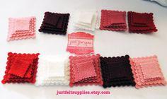 40 Wool Felt Pack Die cut Felt scalloped Tiny by JustFeltSupplies