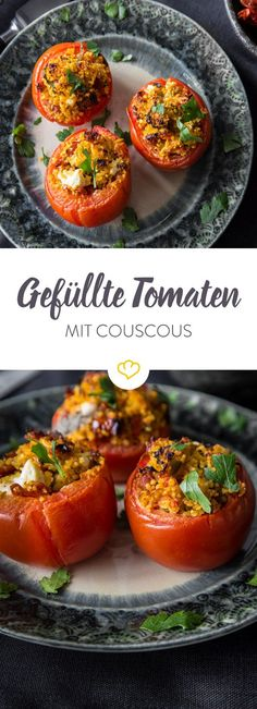 Stuffed tomatoes with couscous and chorizo- Gefüllte Tomaten mit Couscous und Chorizo Your tomatoes are there to fill! With couscous, chorizo ​​and feta. And the beauty – the filling you can put together according to your mood. Grilling Recipes, Vegetable Recipes, Vegetarian Recipes, Healthy Recipes, Chorizo, Clean Eating Recipes, Soul Food, Food Inspiration, Healthy Snacks