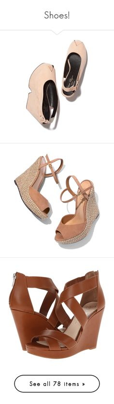 """Shoes!"" by sarguo ❤ liked on Polyvore featuring shoes, heels, travel shoes, sandals, wedges, espadrille, natural, schutz, espadrille wedge shoes and espadrille shoes"