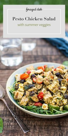 Pesto Chicken Salad with Summer Veggies (Updated) Easy Salad Recipes, Easy Salads, Real Food Recipes, Dinner Recipes, Creamy Pasta Salads, Pesto Chicken Salads, Clean Eating Vegetarian, Clean Eating Snacks, Paleo Pesto