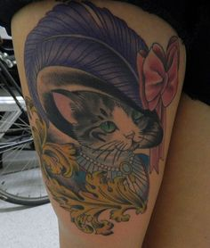 Victorian cat tattoo.