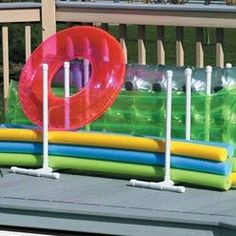 Raft Caddy Pool Float Organizer- does not link to site- LP Pvc Pool, Pool Fun, Pool Float Storage, Pool Toy Storage, Pool Organization, Pool Rafts, Pool Floats, Summer Pool, Pool Toys