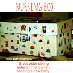 Nursing Box. Great way to entertain older siblings when feeding a new baby. Baby shower gift for friends?