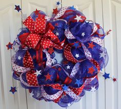 Patriotic 4th of July Deco Mesh Wreath.  Memorial Day, Red, White, and Blue Sparkle wreath. USA decor.  4th of July Decor