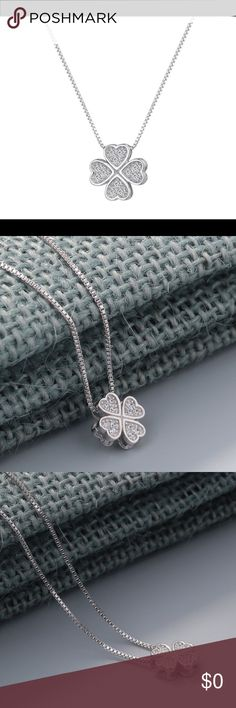 🚩 COMING SOON: Sterling Silver Four Leaf Clover 🚩 COMING SOON: Sterling Silver (925) four leaf clover necklace. The center of the clovers are filled with white crystals. Jewelry Necklaces