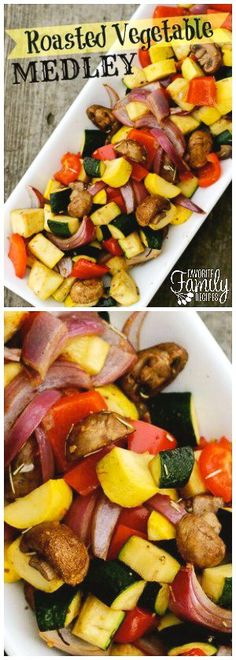This Roasted Vegetable Medley is a delicious, healthy, and easy side dish.  The vegetables have just the right balance of tenderness and crispness.  via @favfamilyrecipz