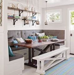 We love this rustic-inspired breakfast banquette with built in seating and a moveable bench. Check out our other breakfast room banquette ideas to add a homey and welcoming feeling to your kitchen. Kitchen Table With Storage, Kitchen Ikea, Kitchen Table Bench, New Kitchen, Kitchen Black, Kitchen Shelves, Kitchen Small, Kitchen Furniture, Kitchen Rustic