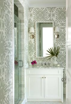 Neutral bathroom with wallpaper. Interior Design: Kevin Walsh