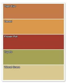 """I already have """"Tigereye"""" from Sherwin Williams bought for my open kitchen/livingroom/diningroom area.  But with the red cedar cabinets, I think I'll need a lighter color around my kitchen to help them stand out.  Maybe the Wheat Grass?"""