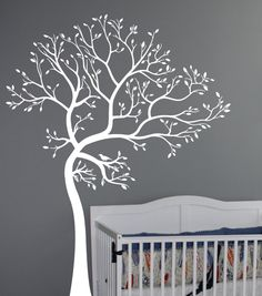 large white tree wall decal for wall behind the crib
