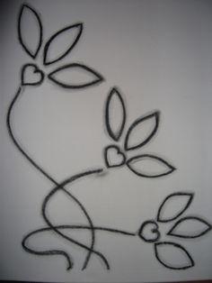 Houtskool tekening op een schildersdoek.