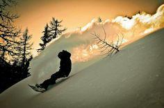 Sunset action #snowboarding