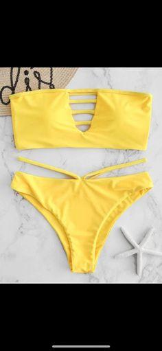 Lattice High Cut Bandeau Bikini Set - Bra and Bikinis Bandeau Outfit, Bandeau Bikini Set, Bikini Outfits, Bikini Swimwear, Bikini Bottoms, Cute Swimsuits, Cute Bikinis, Women Swimsuits, Swimwear Sale