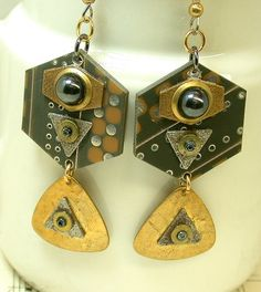 RECYCLED Circuit BOARD EARRINGS Steampunk Jewelry Vintage Glass Bead