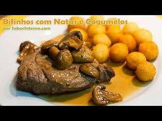 Receita de Bifinhos com Natas e Cogumelos