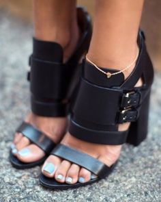 Shoes: black fashion women strappy heels chunky heels buckles buckle heels cuffed heels strappy high