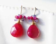 Boucles d'oreilles rubis, Pierre rouge Boucles d'oreilles, bijoux de naissance juillet, boucles d'oreilles grappe