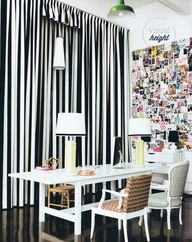 stripe drapes and collage wall