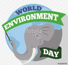 Elephant holding a Commemorative Flag for World Environment Day