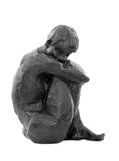 'Lost in thought' - bronze sculpture by Danièle Dekeyser ('Songe').