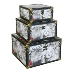 Storage Box (set of 3) - Marilyn's 80th Anniversary   A decorative storage box set with an iconic illustration of Marilyn Monroe celebrating her 80th Anniversary. Comes in a set of three boxes.  Small Height : 10.5cm Width : 20cm Depth : 20cm  Medium Height : 14.5cm Width : 25cm Depth : 25cm  Large Height : 19cm Width : 31cm Depth : 31cm