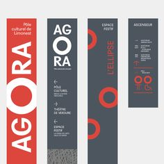 The Agora, Limonest's cultural centre. Visual identity and signage design. Wayfinding Signage, Signage Design, Graphic Design Branding, Advertising Design, Pull Up Banner Design, Web Banner Design, Lanscape Design, Pole Banners, Church Interior Design