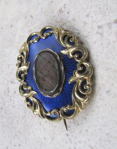 Antique Victorian Blue Guilloche Enamel Hairwork by MercyMadge, $225.00