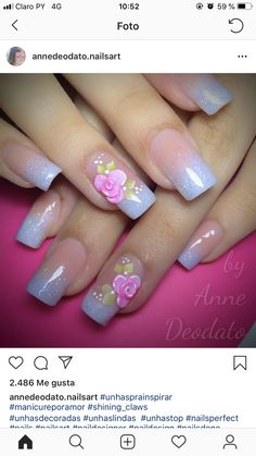 Manicure Nail Designs, Ombre Nail Designs, Colorful Nail Designs, Nail Designs Spring, Nail Polish Designs, Nail Art Designs, Cute Spring Nails, Summer Nails, Rose Nails