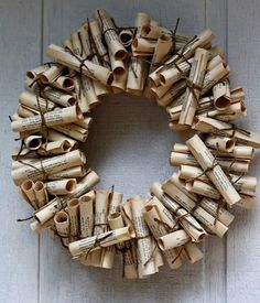 Book Wreath Tutorial - old book pages (old hymnal or music book) Old Book Crafts, Book Page Crafts, Christmas Wreaths, Christmas Crafts, Christmas Decorations, Paper Decorations, Noel Christmas, Valentine Decorations, Handmade Christmas