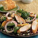 Spiced Chicken and Greens with Pomegranate Dressing Recipe   MyRecipes.com
