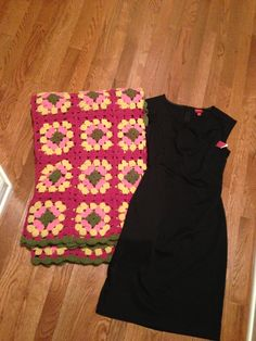 Recently thrifted from Goodwill:: Vintage crochet afghan // classy little black dress