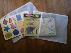 Laundry bags [dollar store] to store puzzle pieces. When clean up time rolls around, the students can quickly throw all the pieces into the bag and alas! no lost pieces :D I have also cut out the cover picture and put it in, too.