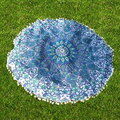 Colorful Flower Design Star Mandala Beach Roundie