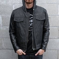 Get the best of both worlds with the Cutlass Men's Riding Jacket by First Mfg! Featuring a heavy black denim body and full grain leather sleeves, this style will work with many looks, and remains both durable and lightweight. Action back shoulder gussets allow ease of movement without bulk. Add even more protection by using the armor-ready pockets. Check it out in the link in bio! Denim Motorcycle Jacket, Motorcycle Riding Gear, Moto Jeans, Moto Jacket, Leather Vest, Leather Sleeves, Slim And Fit, Riding Jacket, Black Denim