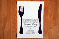 Knife and Fork Invitation - Dinner Party