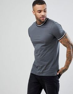 NEW LOOK T-SHIRT WITH TAPE DETAIL IN GRAY - GRAY.  newlook  cloth   b1629b5527c0