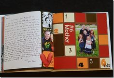 Amazing gift idea.  Her sister took different words and got letters from those people (daughter = letters from mom & dad, sister = letters from siblings, ect).  Also added photos for each word.  What a great keepsake.