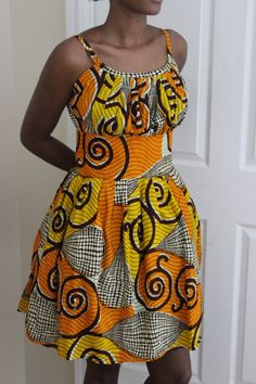 African Print Pleated Sun Dress by ifenkili on Etsy