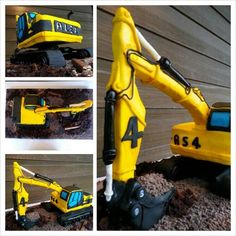 A digger/Excavator cake I made for my son's best friend – everything is edible on the base board – a lot of fun making this one!