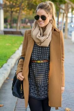 Stylish Light Brown Scarf, Trench Coat, Blouse and Skinnies