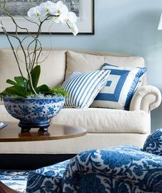Blue and white - perfect. I have some little chinese  bowls that look like this- I saw tiny orchids on sale at Krogers.