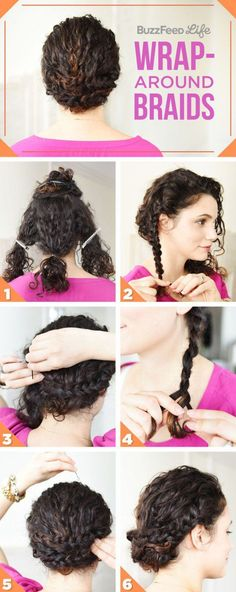 Wrap-Around Braids | Naturally Curly Hair | Awesome Hairstyles For Holiday, Prom, Birthday & Weddings - A DIY Tutorial For Extremely Thick Or Thin Curls by Makeup Tutorials at http://makeuptutorials.com/10-easy-gorgeous-hairtsyle-tutorials-naturally-curly-hair/