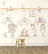 "Mural infantil de papel pintado ""Indios & Indias"""