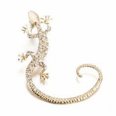 New Fashion Zinc Alloy 1pc Animal Shape Beads Resin Rhinestone Decor Casual Club Ear Wrap Cuff Earrings Stud