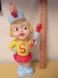 """UNIQUE 1950s Vtg 8.5"""" Rubber Squeaker Toy GIRL Marching Band? BUTT CHEEKS Works!"""