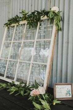 vintage window wedding seating chart with floral accented diy seating chart 20 DIY Wedding Decoration Ideas with Vintage Windows - EmmaLovesWeddings Wedding Table Assignments, Wedding Table Seating, Wedding Seating Charts, Wedding Table Signs, Wedding Welcome Table, Diy Wedding Decorations, Table Decorations, Wedding Ideas, Trendy Wedding